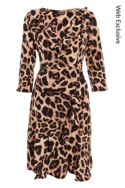 Brown Leopard Print Skater Dress